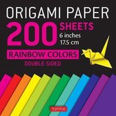 Origami Paper 200 Sheets Rainbow Colors 6 inches 15 cm