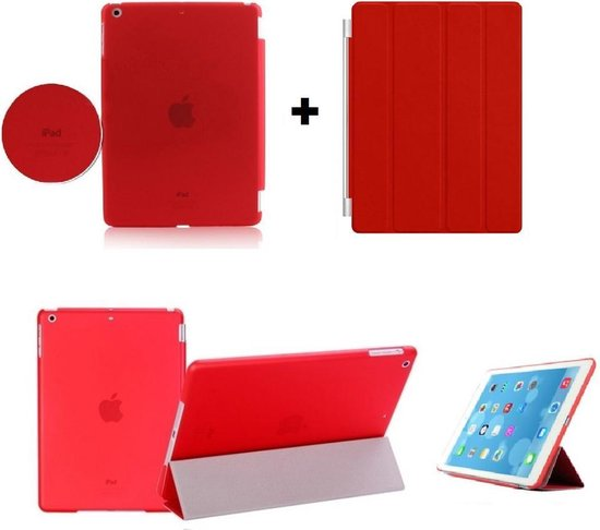 iPad 2, 3, 4 Smart Cover met/inclusief Achterkant Back Cover Hoes Red/Rood Smartcover combinatie hoesje Companion Case Full Body | BetaalbareHoesjes.nl