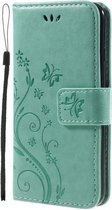 Book Case Hoesje Bloemen  iPhone SE (2020) / 8 / 7 - Cyan