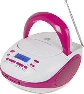 Nikkei NPRC56PK - Draagbare Radio en CD-speler met USB-Poort en Bluetooth - Wit/Roze