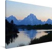 Het Tetongebergte tijdens de schemering in de Verenigde Staten Canvas 60x40 cm - Foto print op Canvas schilderij (Wanddecoratie woonkamer / slaapkamer)