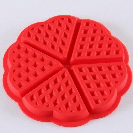 Siliconen wafel vorm | 5 wafels in de vorm van een hart | rood