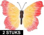 2x Oranje/rode metalen vlinders 40 cm tuinversiering - Schuttingdecoratie/tuindecoratie vlinders