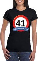 Verkeersbord 41 jaar t-shirt zwart dames XL