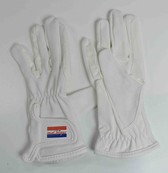 Paardrijhandschoenen wit met kunstlederen binnenzijde en stretch katoenen bovenzijde voor een fijne pasvorm maat M HT5125