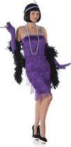Paars Charleston Flapper Kostuum | Jaren 20 Danseres | Vrouw | XL | Carnaval kostuum | Verkleedkleding
