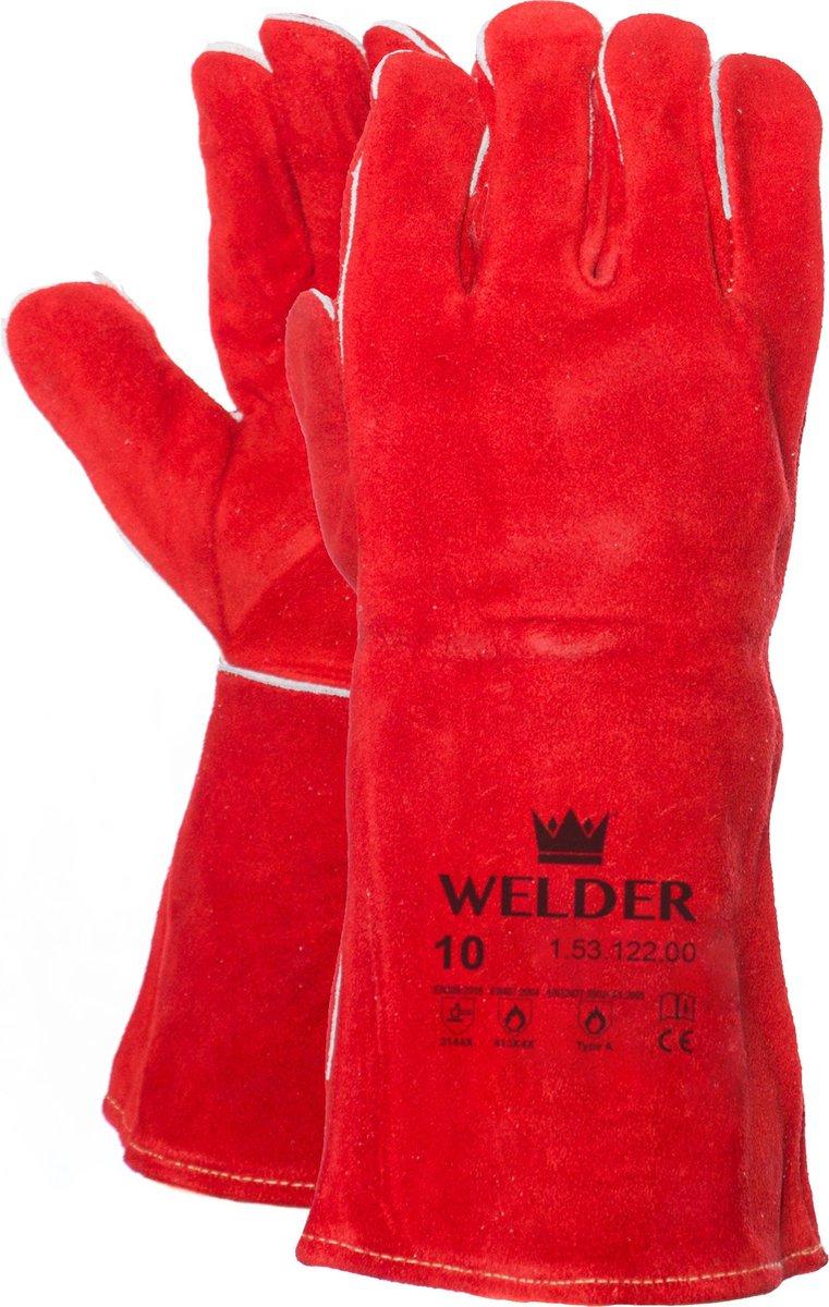 Lashandschoenen -  Hittebestendig - Rood - Kevlar garen - Splitleder - Elektrode en MIG/MAG lassen -