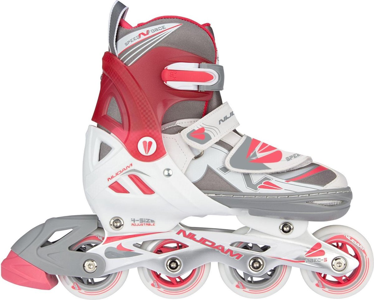 NORENSCHAATS/SKATE COMBO JUNIOR • SEMI-SOFTBOOT • N-FORCE II - Wit/Grijs/Roze - Maat 33-36