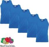 5 Pack Fruit of the Loom Valueweight Sportshirt-Onderhemd Royal Maat XL