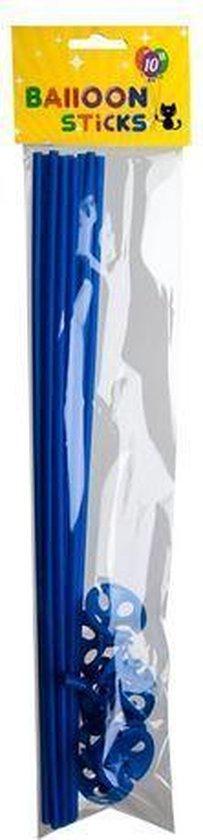 Ballonstokjes Blauw met houders 40cm 10 stuks
