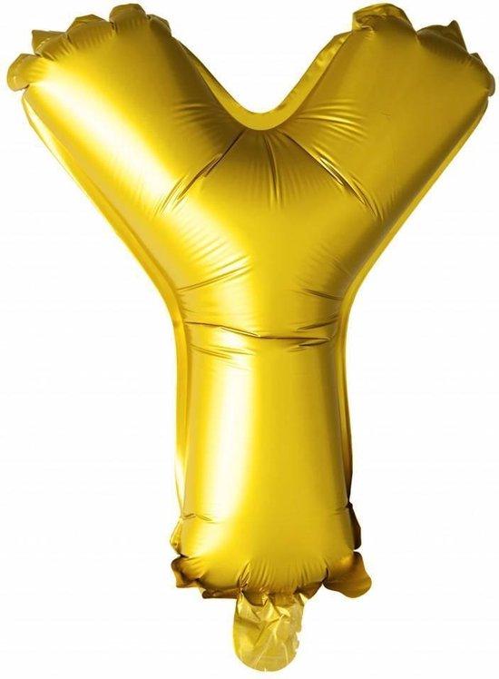 Folie Ballon Letter Y Goud 41cm met Rietje