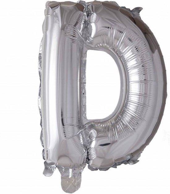 Folie Ballon Letter D Zilver 41cm met Rietje