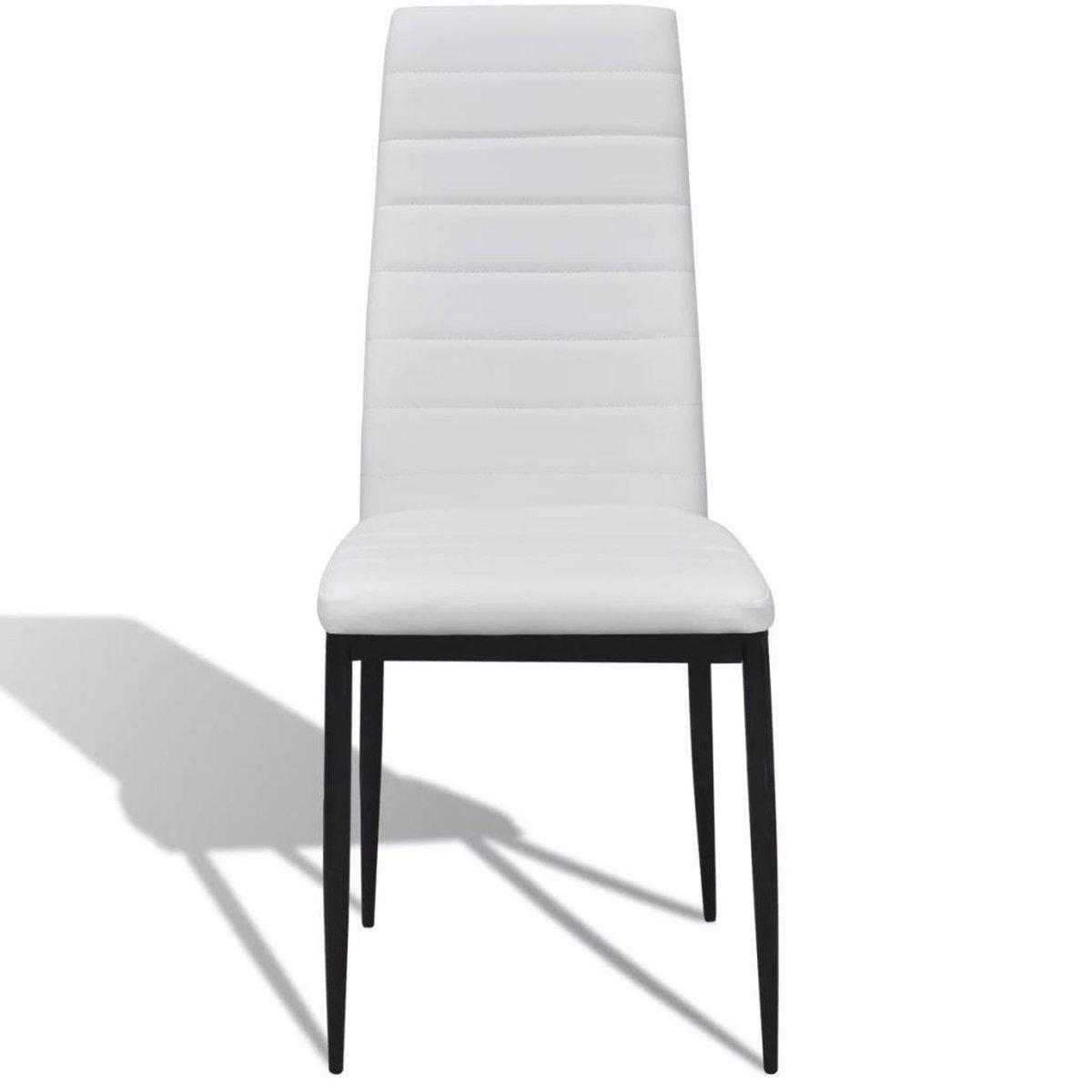 Eetkamerset 4 zwarte slim line stoelen en 1 glazen tafel set eetkamer stoel
