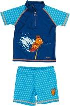Playshoes UV zwemsetje Kinderen korte mouwen Blauwe Muis - Blauw - Maat 74/80