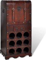 vidaXL Wijnrek - 40 x 27 x 79 cm - Hout - 9 flessen - Met opbergkist