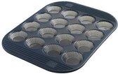Mastrad Cakevorm Tarlet - Mini - Siliconen - Voor 16 stuks - Zwart