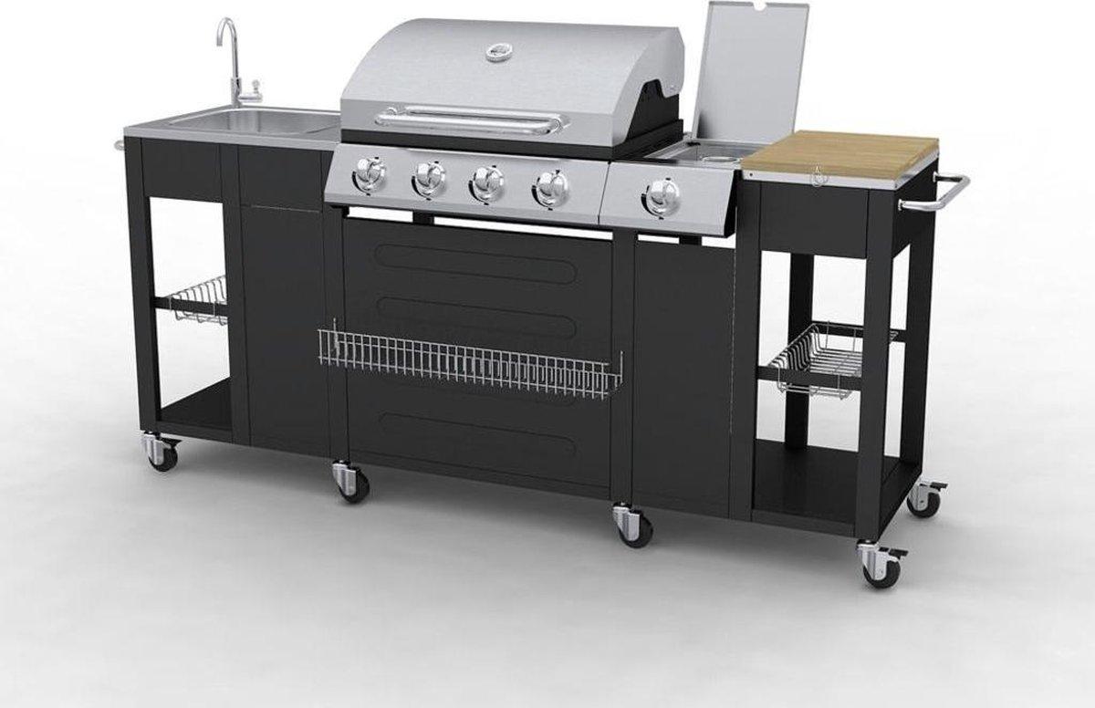 vidaXL Montana Gasbarbecue - 4 Branders - Zwart