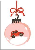 DesignClaud Kerstposter Rode auto - Kerstdecoratie Kleurrijk A3 poster (29,7x42 cm)