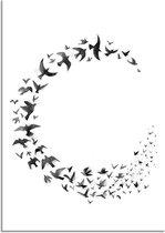 Zwart wit poster Zwerm vogels DesignClaud - Cirkel - A3 poster