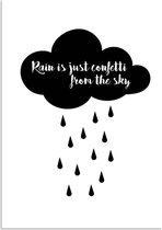 Tekst Poster Rain is just confetti from the sky DesignClaud - Zwart wit - A4 poster