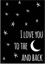 Kinderkamer Poster I love you to the moon and back DesignClaud - Zwart wit - A3 poster
