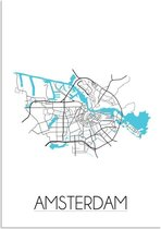 Plattegrond Amsterdam Stadskaart poster DesignClaud - Wit - A2 + fotolijst zwart