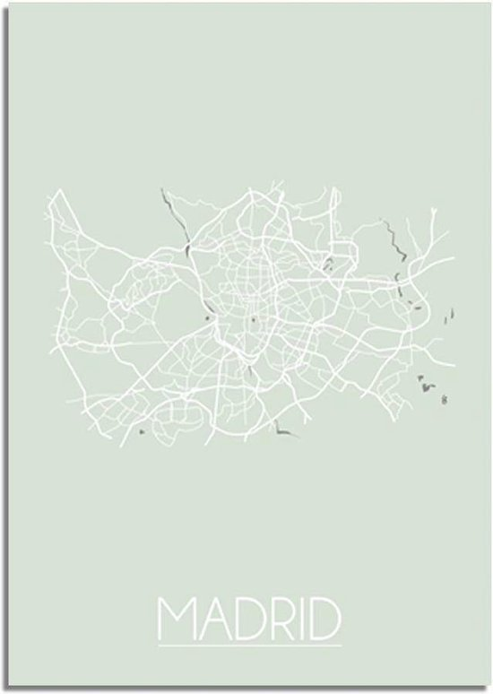 DesignClaud Madrid Plattegrond poster Pastel groen A2 poster (42x59,4cm)