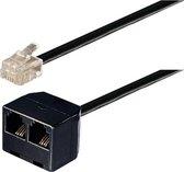 Transmedia RJ11 (m) - 2x RJ11 (v) telefoon splitter kabel / zwart - 5 meter