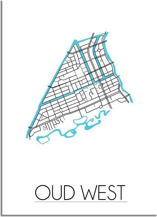 Plattegrond Oud West Amsterdam Stadskaart poster DesignClaud - Wit - A4 poster