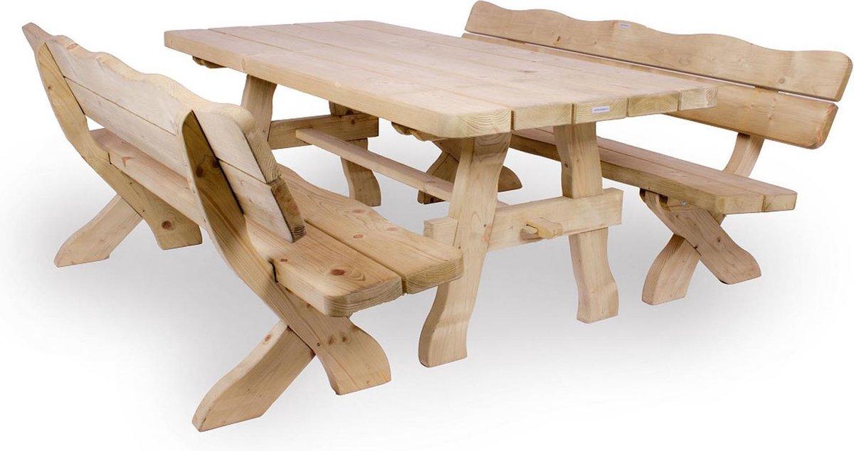 MaximaVida houten tuinset Provence 200 cm met 1 tafel en 2 banken