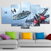 Majestic Star Wars Canvas 5 Delige Muurdecoratie | Feat. Millennium Falcon