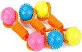 Klosje met 2 rubberen speelballen aan touw