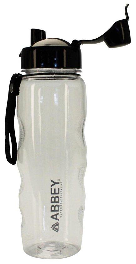 Abbey Outdoor Bidon - 0.6 Liter - Transparant/Zwart - 0,60 L - Abbey