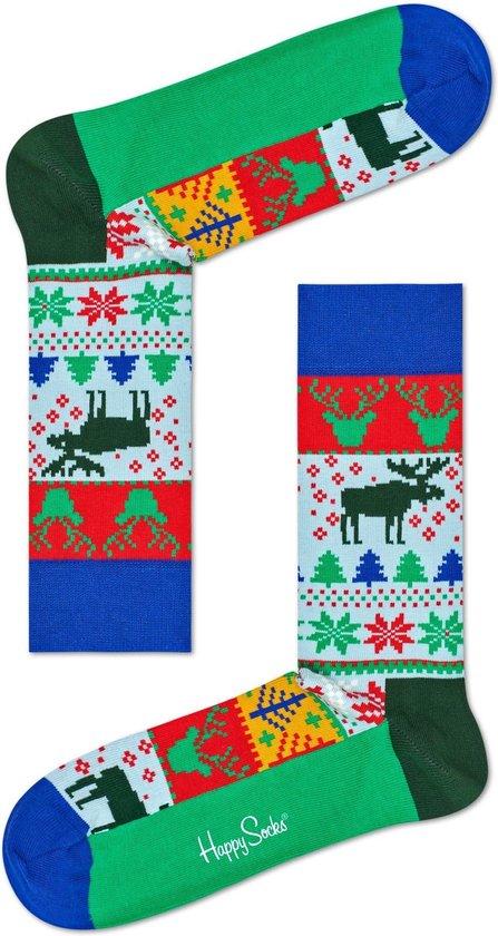Happy Socks - Happy Holiday - kerstsokken - Fair Isle - blauw multi - Unisex - Maat 36-40