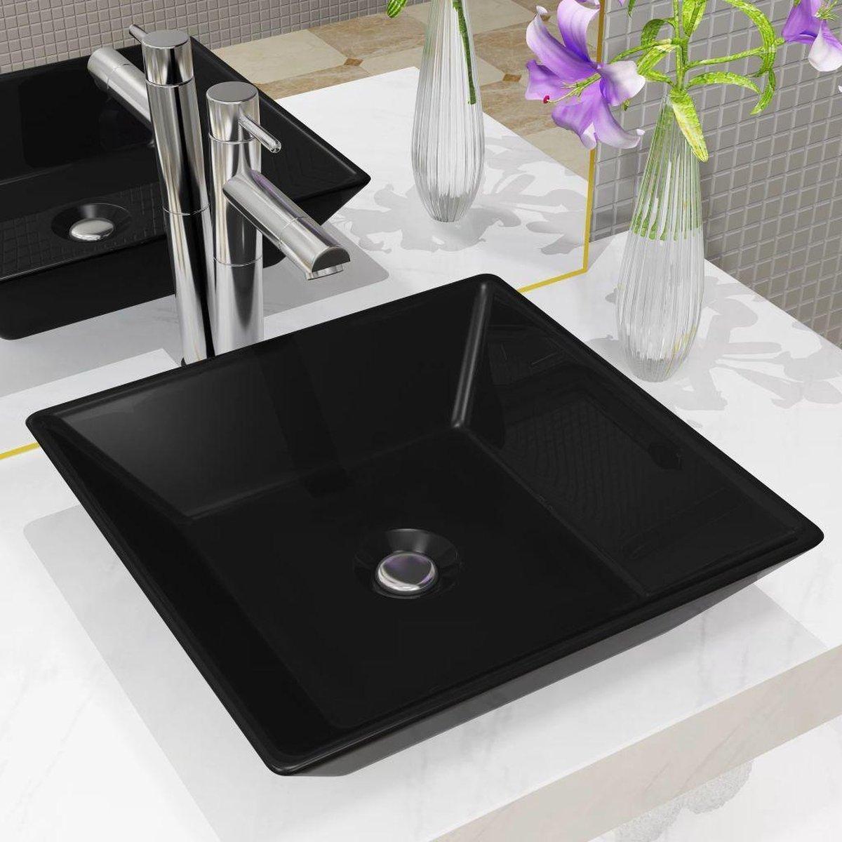 vidaXL Wastafel vierkant 41,5x41,5x12 cm keramiek zwart