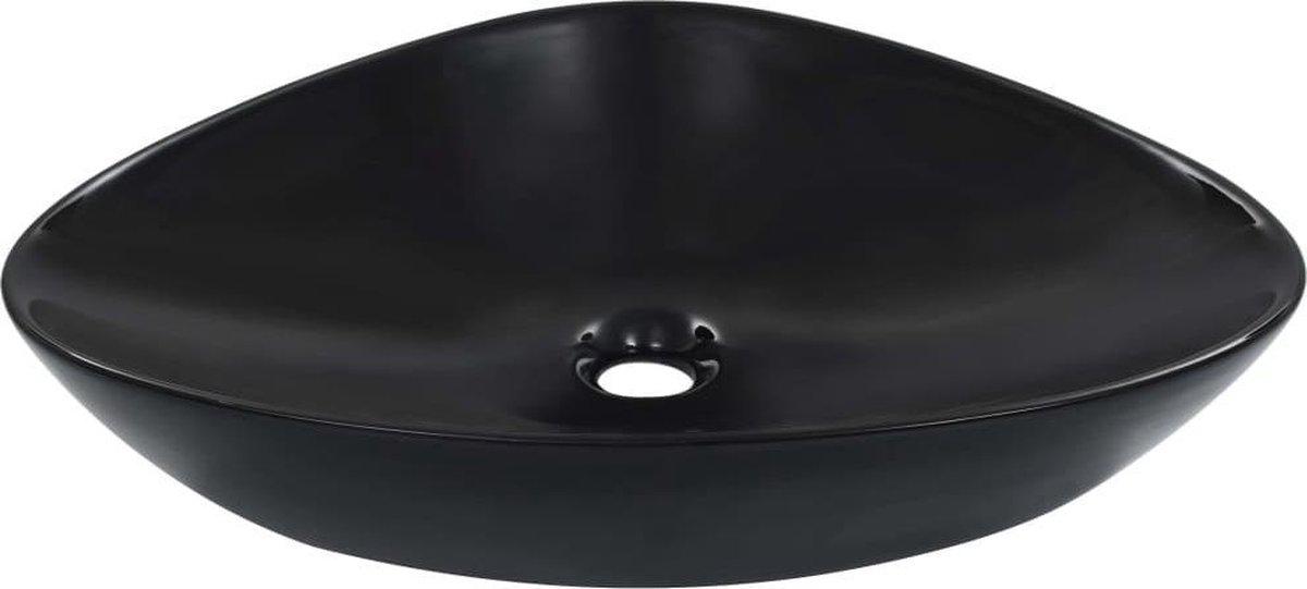 vidaXL Wastafel 58,5x39x14 cm keramiek zwart