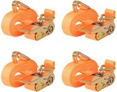 vidaXL Spanbanden 0.4 ton 6mx25mm oranje 4 st
