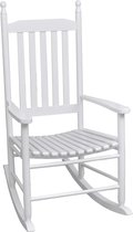 vidaXL - Schommelstoel Houten schommelstoel wit met gebogen zitvlak