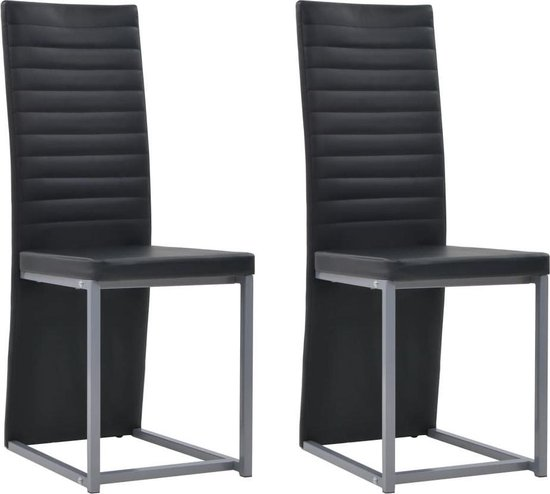 Betere bol.com | Eettafel stoelen Kunstleer Zwart 2 STUKS / Eetkamer BD-46