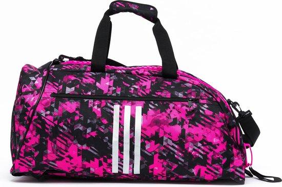 Adidas sporttas en rugzak | zwart-roze camoprint | maat L