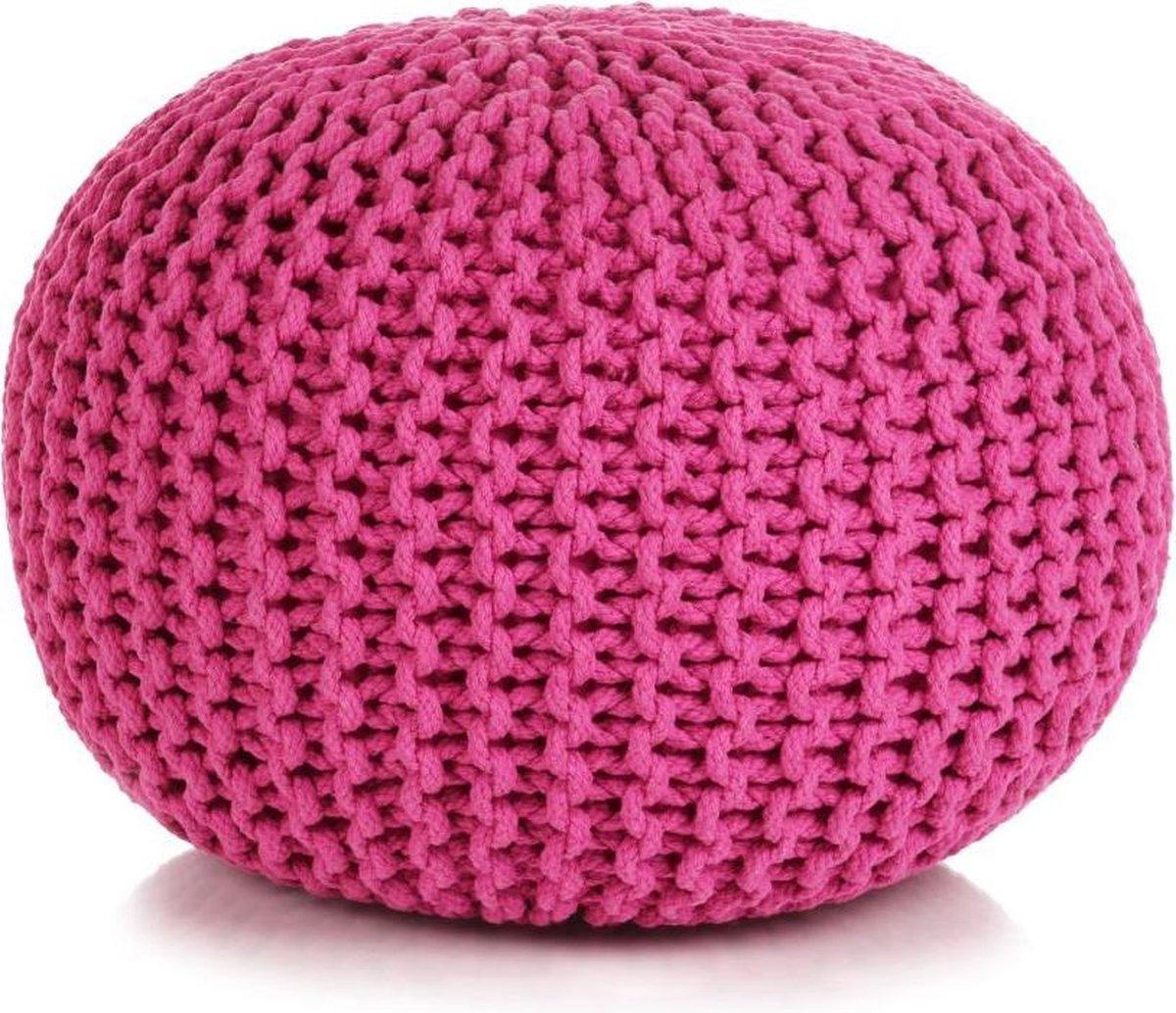 vidaXL Poef handgebreid 50x35 cm katoen roze - vidaXL