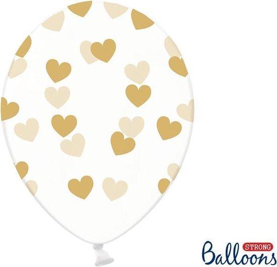 Partydeco 6 Ballonnen in zak hartjes crystal - Goud 30cm