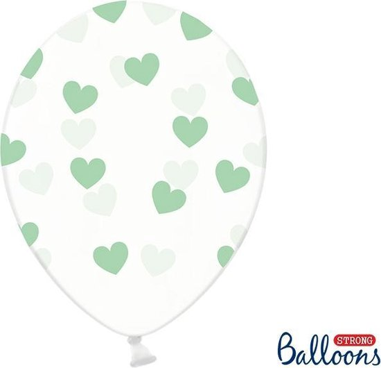 Partydeco 6 Ballonnen in zak hartjes crystal - Mint groen 30cm