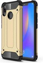 Ntech Huawei P Smart 2019 Dual layer Armor Hoesje - Goud