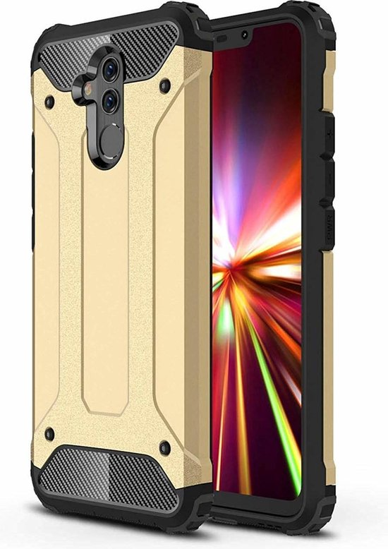 Ntech Huawei Mate 20 Lite Dual layer Armor Hoesje - Goud
