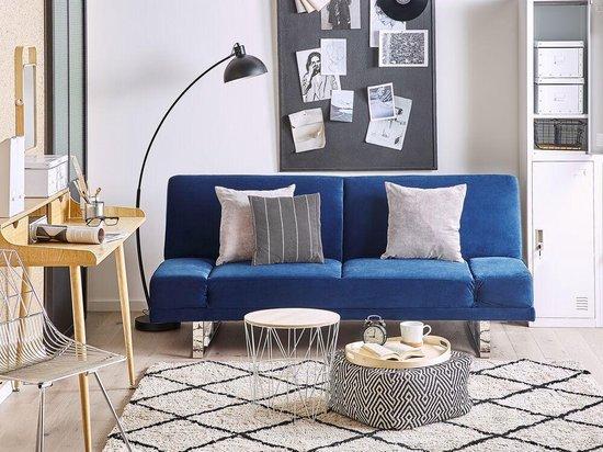 Beliani YORK - Slaapbank - blauw - fluweel