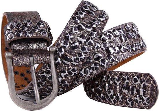 Dielay – Riem met Slangenprint en Studs – Echt Leer / Leder – 100×3,8 cm – Bruin
