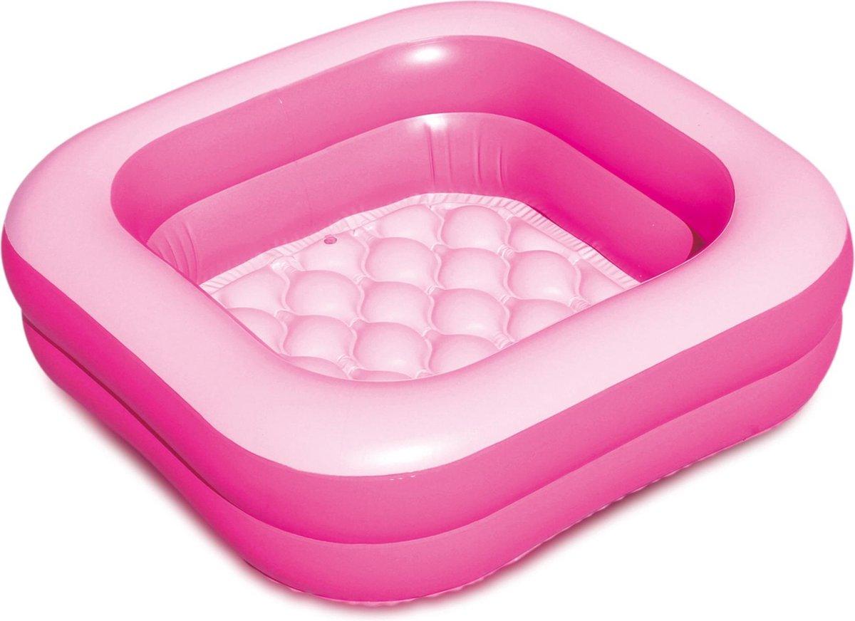 Roze opblaasbaar zwembad babybadje 86 x 86 x 25 cm speelgoed - Douchecabine badje - Buitenspeelgoed voor kinderen