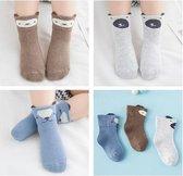 3-pack blauwe baby sokjes jongens 2-6 maanden - baby sokken met diertjes print