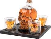Whisiskey® Decanteerkaraf - Skull - Luxe Whiskey Karaf Set - 0,9 L - Incl. 9 Whisky Stones, Schenktuit en 4 Schedel Glazen